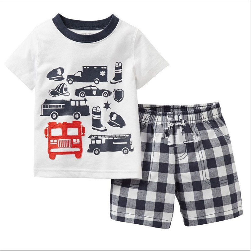 2PCS Suit 2017 New Kids Fashion Cotton Cute Animal Sets Baby Boy Clothes Children Summer Toddler Boys Clothing sets