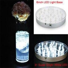 1 шт./лот 6 дюймов светодиодное освещение с 31 шт 5 мм светодиодный s для кристаллические Стекло, вазы, центральным Uplighter Свадебный декор