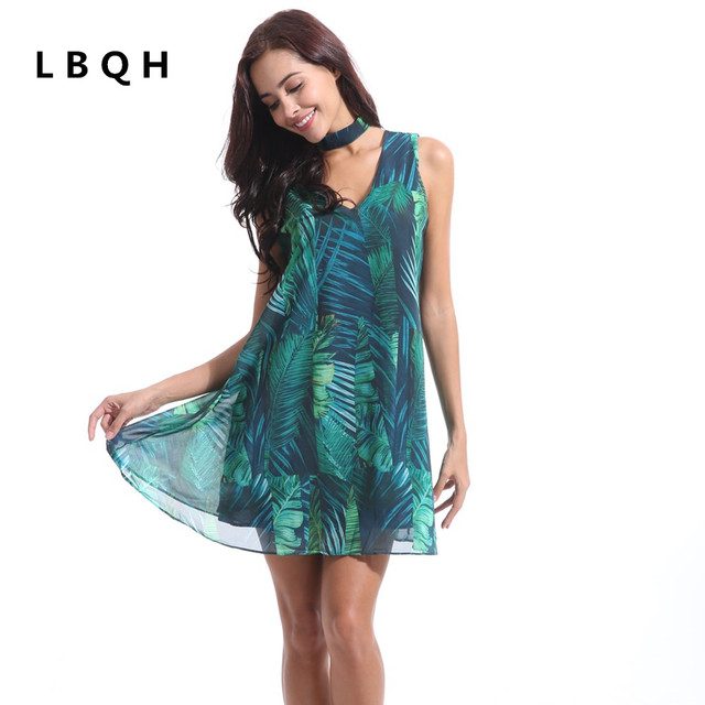 LBQH 2018 summer Ms fashion New Sexy Dresses high quality printing Chiffon Women Hanging neck Retro Hollow green garment