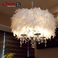 50CM Crystal Light pastoral stylish restaurant chandelier lamp living room lamp bedroom lamp feather featherZL336