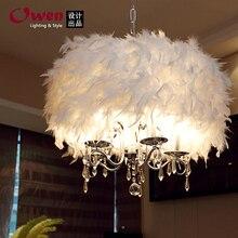 50 СМ Кристалл Света пастырской стильный ресторан люстра лампа гостиной лампа спальня лампа перо перо люстра 2015 новый