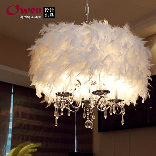50cm Crystal Light Past Stylish Restaurant Chandelier Lamp Living Room Bedroom Feather