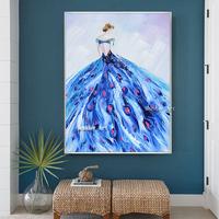 Abstract Fashion Girl Canvas Art Posters 100%Handpainted Canvas Painting Wall Picture for Living Room Modern Home Decoration