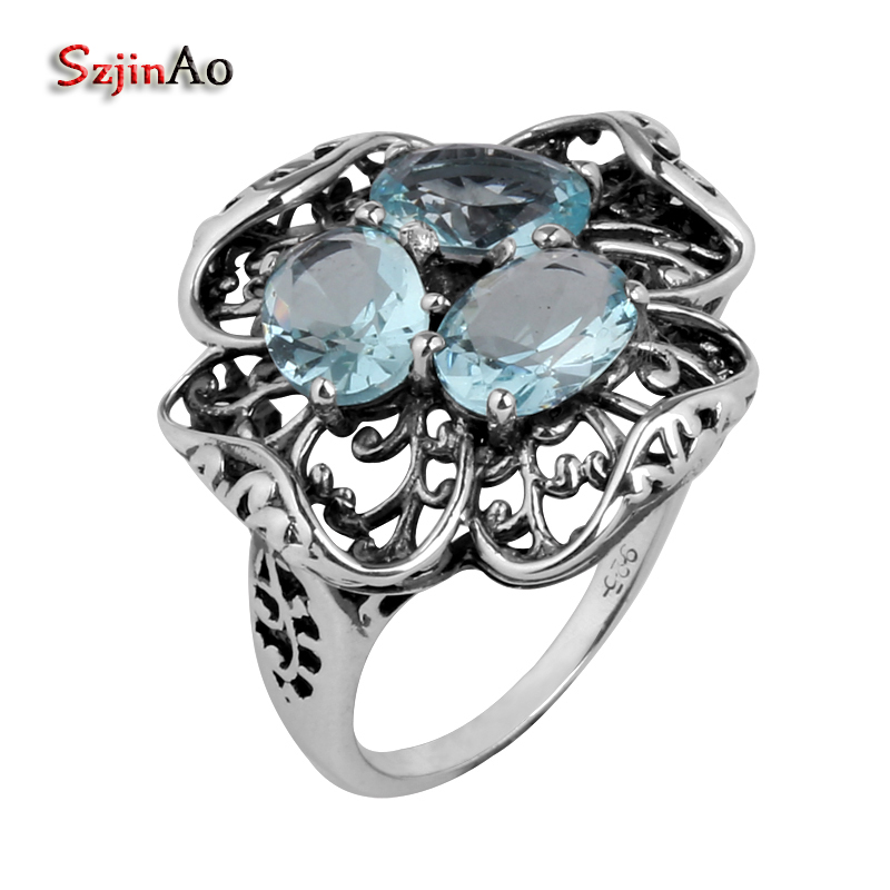 Szjinao Factory direct wholesale sales hollow carving antique jewelry blue sea Victoria women 925 sterling silver Womens ring