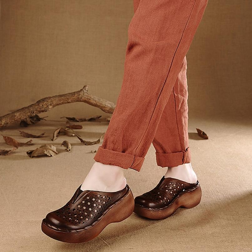 Armygreen Sandales Chaussures chocolate En Coins Épais Pantoufles forme Femmes Talon Z D'été Flip Flops Plage Color Ajouré Plate Cuir RwXT1ax5