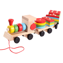 купить Wooden Train Baby Stacking Train Block Toy Montessori Soft Blocks Shape Color Matching Fun Game for Chidren's Education Gift по цене 499.61 рублей