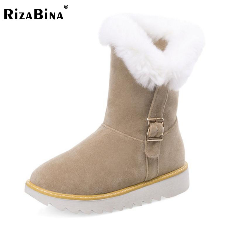 RizaBina Size 34-43 Ladies Thick Fur Plush Inside Mid Calf Snow Boots For Women Metal Buckle Thick Platform Flat Winter Botas zippers double buckle platform mid calf boots