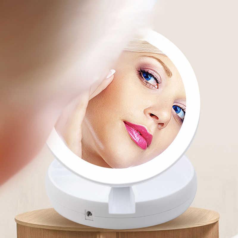 LED מואר איפור מראת איפור קומפקטי איפור Pocket מראות 10X מגדלת משקפיים איפור נייד קוסמטי יד מראה #