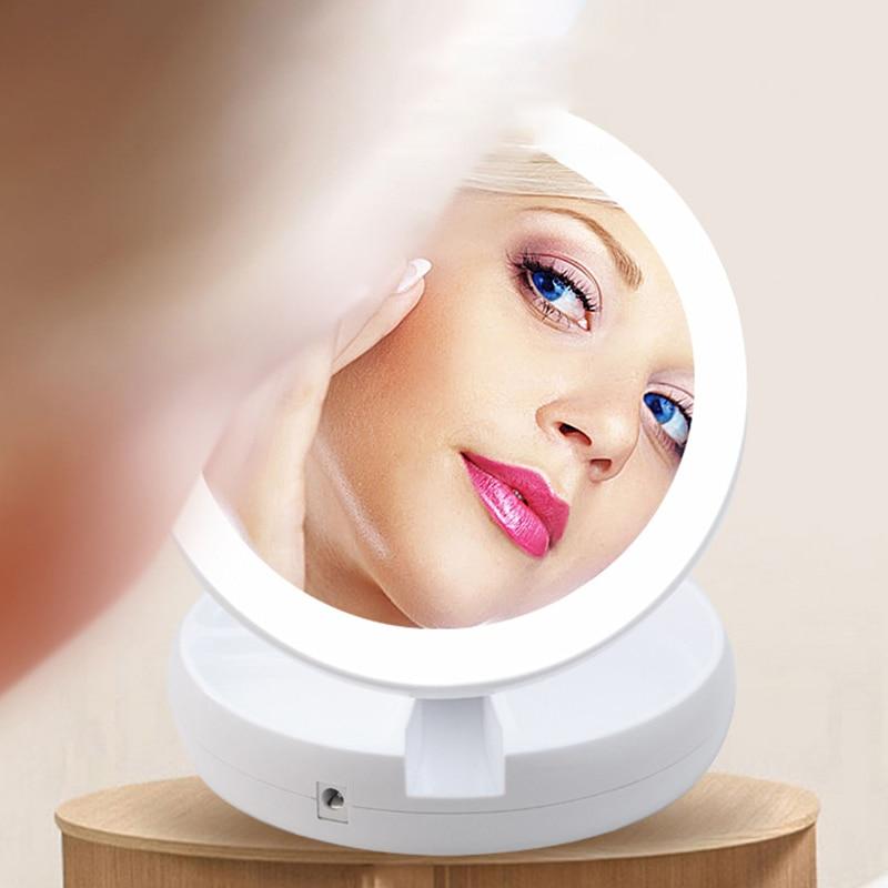 Portable LED Lighted Mini Circular Makeup Mirror Compact Travel Sensing Lighting Cosmetic Mirror Wireless USB Charging christmas