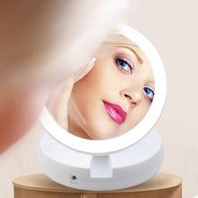 Portable LED Lighted Mini Circular Makeup Mirror Compact Travel Sensing Lighting Cosmetic Wireless USB Charging christmas