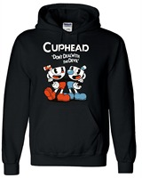 Teacup Cuphead MugmanGame Black Grey Yellow Hooded Coat Hoodie Halloween Costume