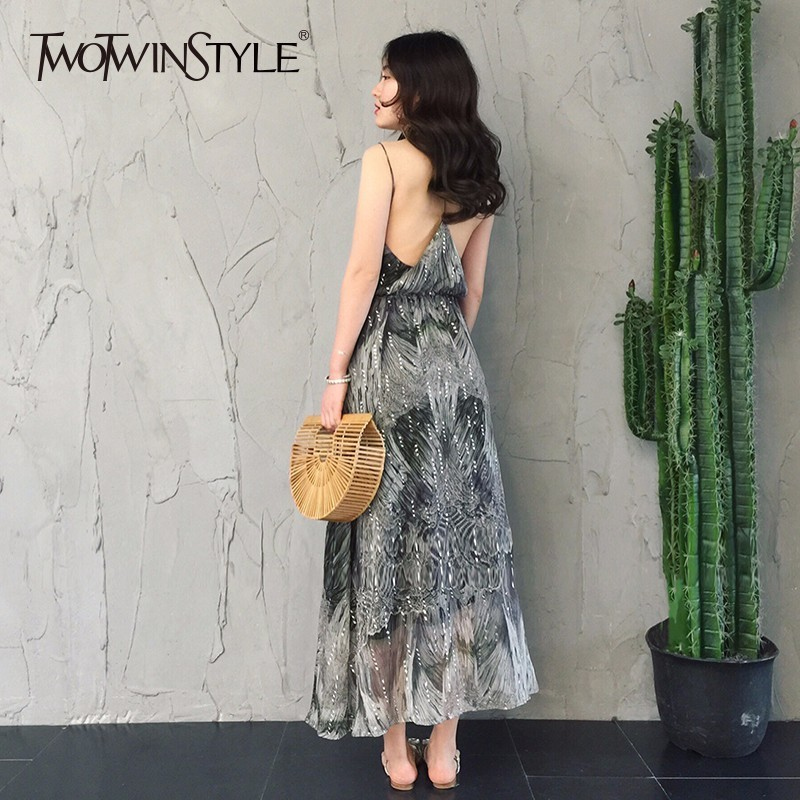 TWOTWINSTYLE Sequins Print Dress For Women Backless Tunic High Waist Long Beach Dresses Summer Female Fashion