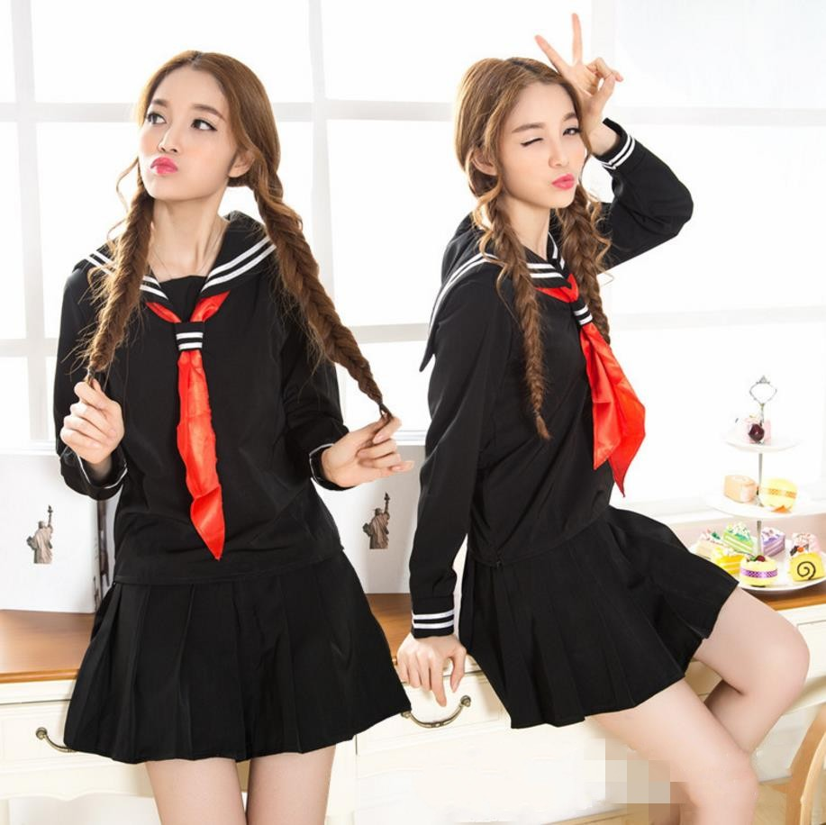 Japanese Hell Girl High School Uniform Sailor Lolita Dress Costume Black T-shirt Skirt