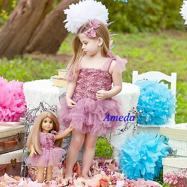 Girls Dusty Pink Rosettes Tutu Blossom Party Dress Matching 18 ...