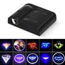 Супер крутой картонный логотип, проектор, светильник для двери автомобиля, светодиодный, приветственный светильник, призрак, тень, светильник, Бэтмен, Супермен, Железный человек, цепь с логотипом Hulk, лампы