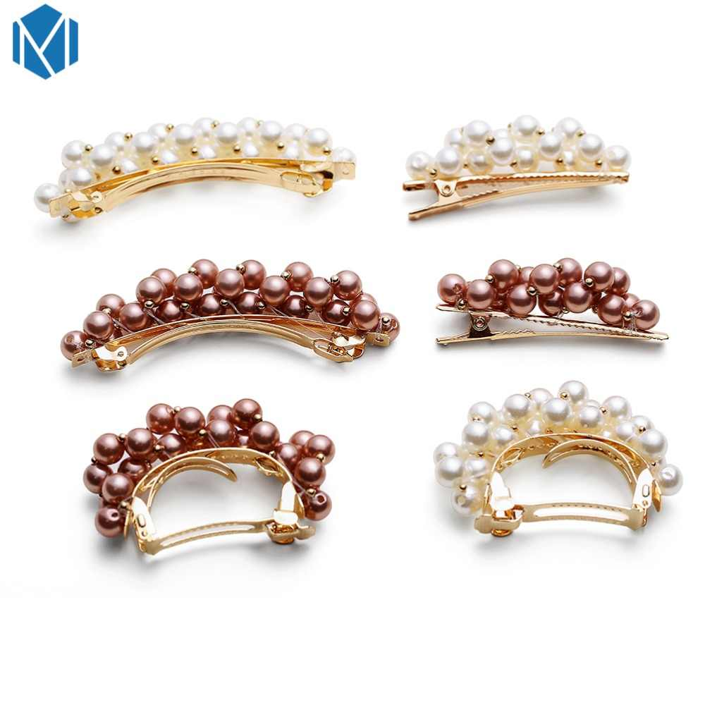 MISM Vintage Hairpins Metal Pearl Hair Clip For Women Golden Silver Retro Girls Barette Cheveux Kawaii Alloy Hair Accessories