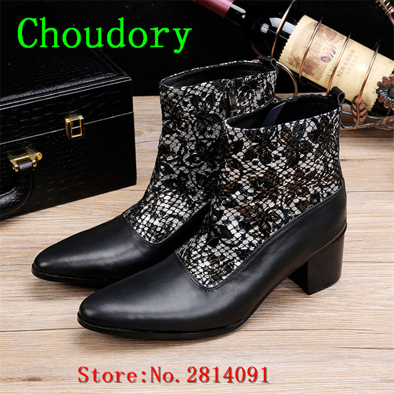 Choudory Height Increasing Ankle Boots Men Pointed Toe Zipper Spring Autumn Mixed Colors Men Shoes High Heels Chukka Boots Men