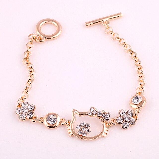 36a292448 New 2015 Hello Kitty 18K Rose Gold Bracelets For Women Lucky Bijouterie  Fashion Crystal Pulseras Brand Charm Bracelets & Bangles