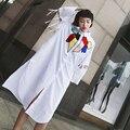 [XITAO] 2017 nova primavera Hong Kong rua vento impressão camisa branca de manga comprida feminina turn down collar blusas estilo BF TL001