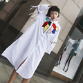 [XITAO] 2017 nueva primavera Hong Kong calle viento femenina camisa blanca de manga larga de impresión gira el collar abajo blusas estilo BF TL001