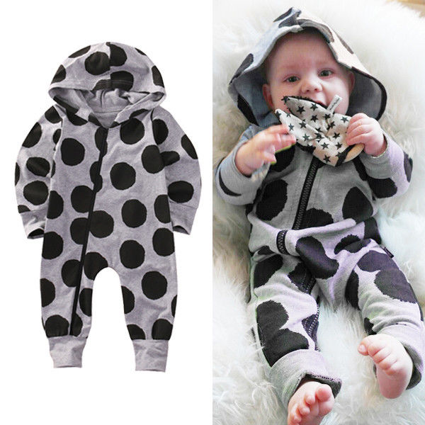 Infant Newborn Baby Boys Hooded Cotton   Romper   Jumpsuit playsuit Outfits Clothes