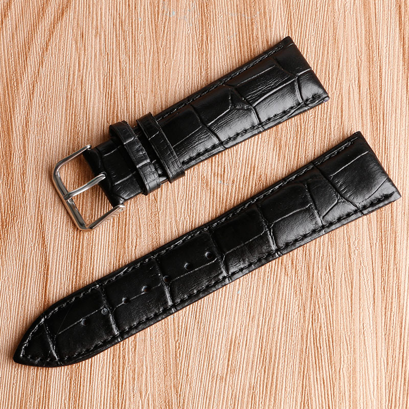 18 20 22 24mm Embossed Bracelet Watchband Strap Replacement Men Women Genuine Leather Luxury Soft Wrist Strap Black Brown luxury grain cow black brown replacement embossed watchband genuine leather high quality 18mm 20mm 22mm 24mm wrist watch band