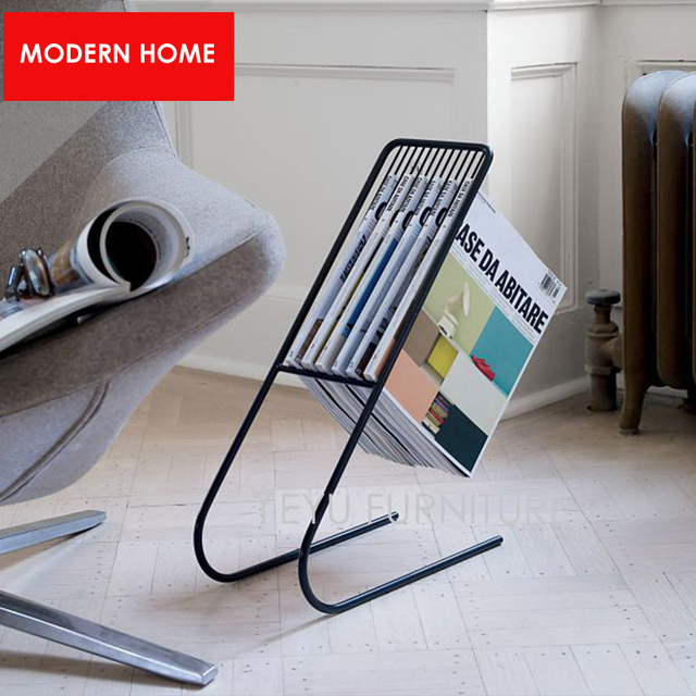 Modern Design Metal Steel Floor Stand Magazine Rack Luxury Storage Living Room Furniture