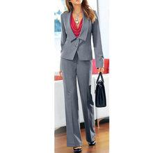 eac661fb49fb Delle donne abbigliamento formale tailleur pantalone Grigio Delle Signore Delle  Donne di Affari Ufficio Smoking 2