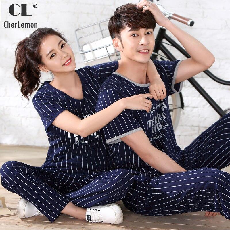 CherLemon Couples Matching Pajama Set Womens Cotton Short Sleeve Pyjama Sleepwear Mens Summer Striped Casual Pjs Soft Nightwear ...