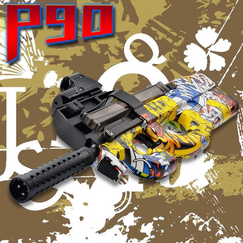 P90 Graffiti Edition Electric Toy GUN Water Bullet Bursts Gun Live CS Assault Snipe Weapon Outdoor Pistol Toys цена