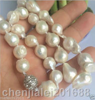 NEW 14 18mm SOUTH SEA WHITE BAROQUE PEARL NECKLACE 18