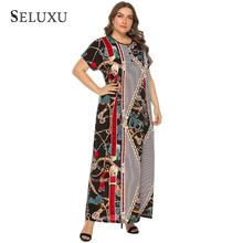 Seluxu 2019 Autumn Women Dress Short Sleeve Button Plus Size Maxi Ethnic African Style Long Round Neck
