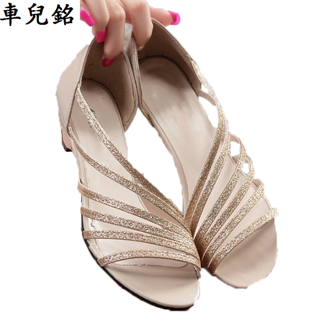 c5917579f5 summer shoes woman sexy sandals hollow wedges quality pu low heel shoes  golden silver female roman open toe strap