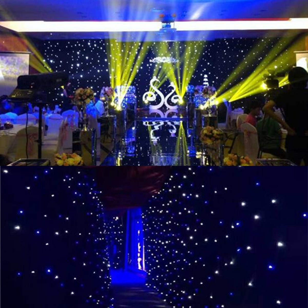 White Blue Show  LED Star Curtain 3x2m 3x3m 3x4m 4x4m Fireproof Starlight Backdrop With Controller For Wedding Party