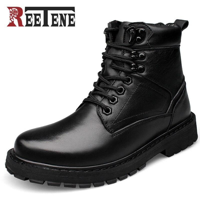 Reetene Fashion Men Boots Plus Velvet Genuine Leather Quality Brand Snow Winter Boots Autumn Ankle Men Boots Big Size 37-50 цены онлайн