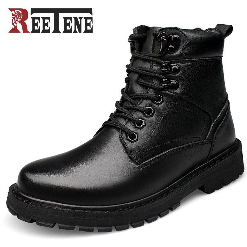 Reetene Fashion Men Boots Plus Velvet Genuine Leather Quality Brand Snow Winter Boots Autumn Ankle Men Boots Big Size 37 50