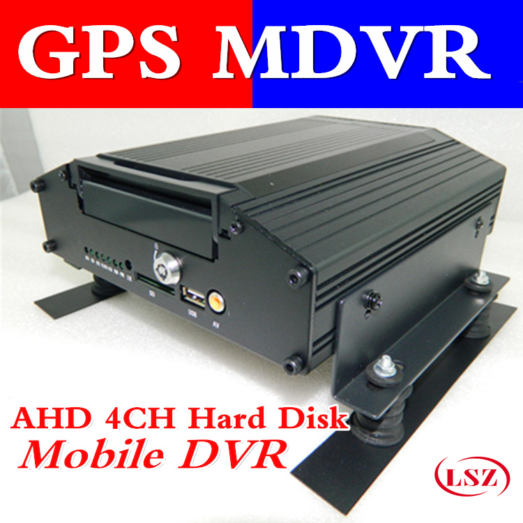 AHD GPS 4 road video recorder supports 4 channel audio and video real-time recording input HD HDD vehicle monitoring host