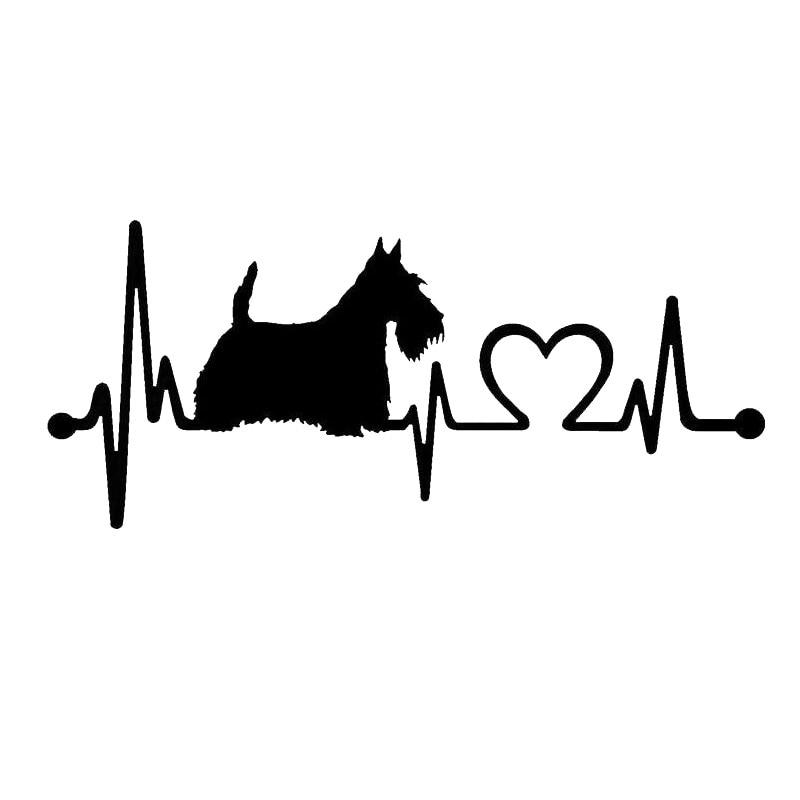 17.8*7.7CM Scotty Scottish Terrier Heartbeat Dog Decal Sticker Cartoon Animal Car Accessories C6-1146