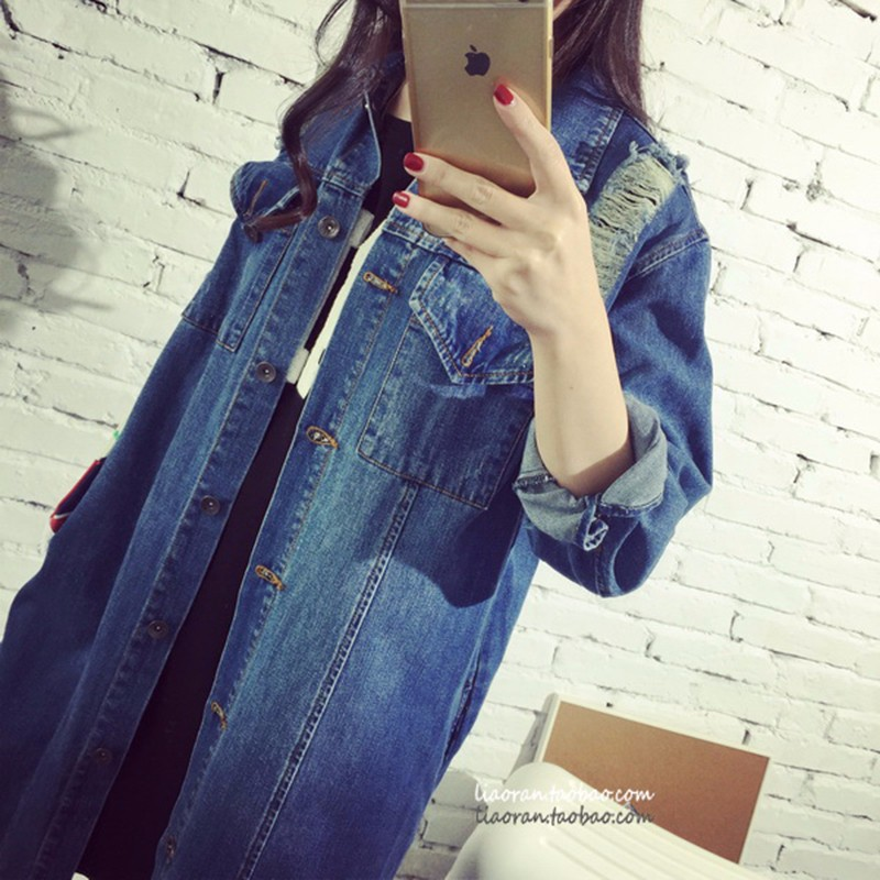 Womens Autumn Jackets And Coats 2016 New Design Frayed Washed Denim Outwear Girls Casual Slim Pocket Clothing New Street Fashion (10)