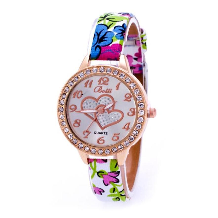 Fantastic 2016 new arrival Loving Heart pattern Diamonds Women Faux Leather Strap Band Analog Quartz Wrist Watch SE 22