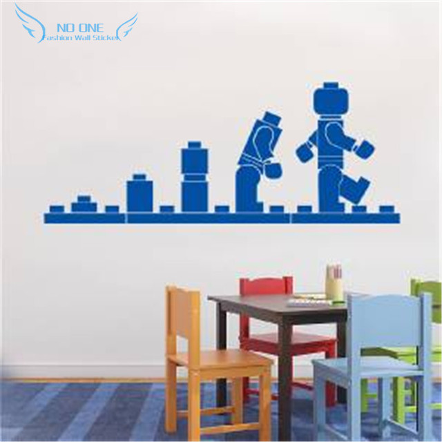 Free Shipping LEGO EVOLUTION Decal WALL STICKER ,Lego Wall Art Vinyl  Stencil Kids Room Cartoon