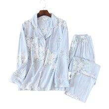 طقم بيجامات صيفي منقوش بنقشة الزهور للنساء ملابس نوم مريحة غير رسمية بأكمام طويلة بيجامات عالية الجودة ملابس منزلية نسائية عرض ساخن