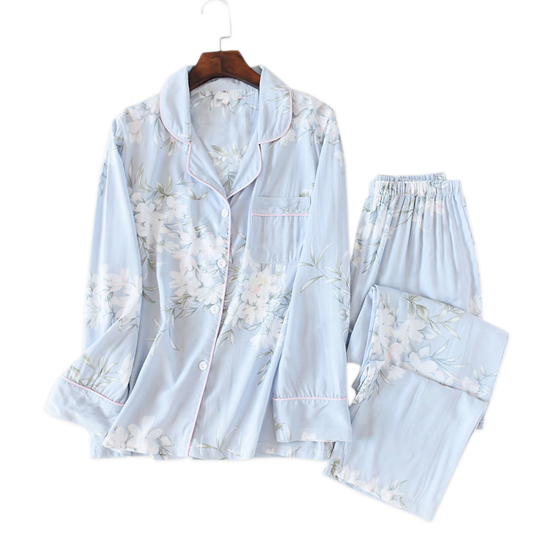 Fresh flower rayon summer   pajamas     sets   women cozy casual sleepwear long sleeve quality pyjamas women homewear