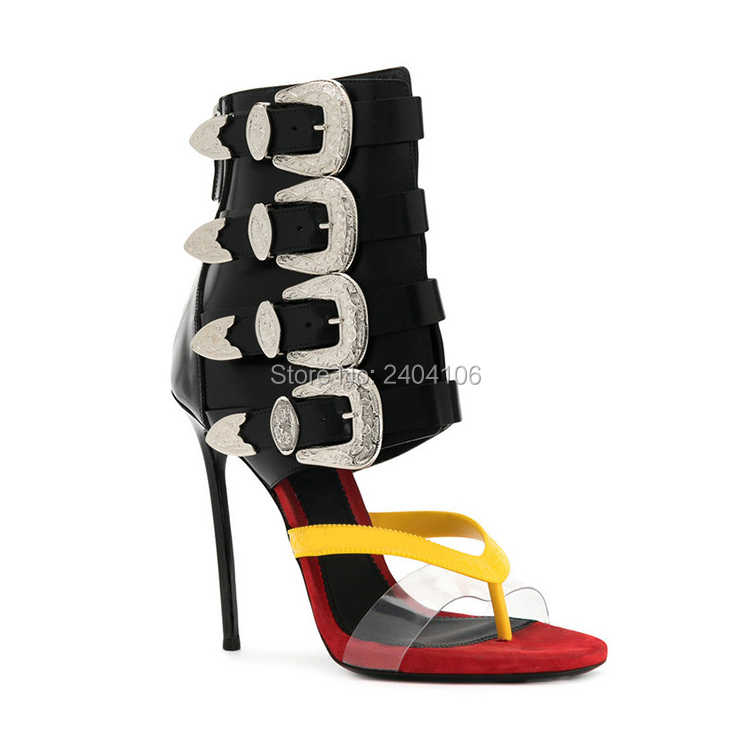 32ddb8102db Shooegle Designer Luxury Shoes Woman Sexy High Heels Stiletto Leather  Sandles Buckle Straps Thong Gladiator Sandals Summer Boots