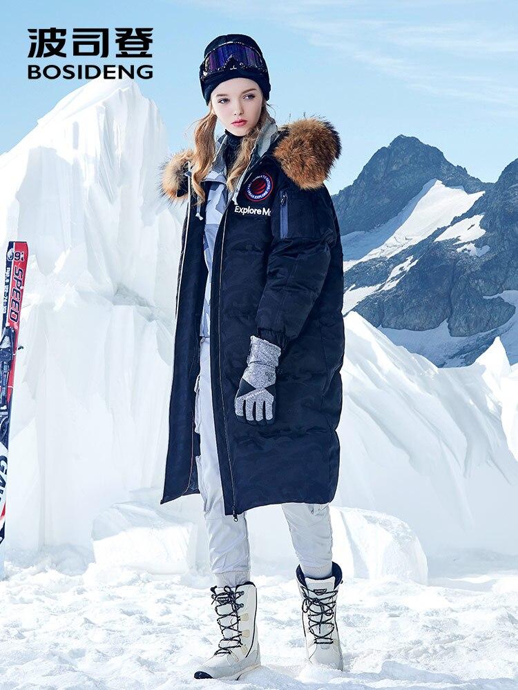 BOSIDENG camouflage goose down coat X-long Down jacket for harsh winter under 30 waterproof windproof natural fur B80142152J