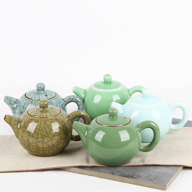 Longquan Glaze Teapot Ceramic Xishi Elegant Tea Kettle Home Office