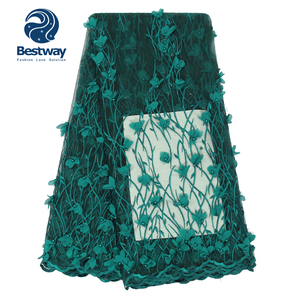 Bestway 3D Applique Lace Fabric Embroidery French Beads Teal Tulle African Wedding High Quality Dubai