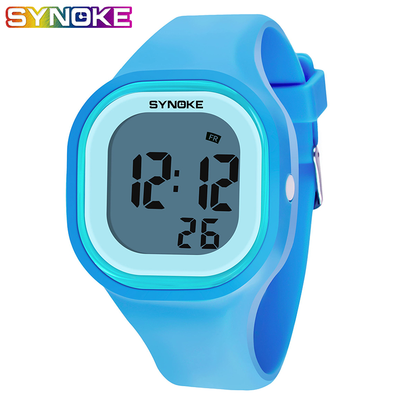 SYNOKE Kids Watches Children Digital LED Fashion Silicone Colorful Boys Girls Wrist Watch Waterproof Gift Alarm Male Clock Men