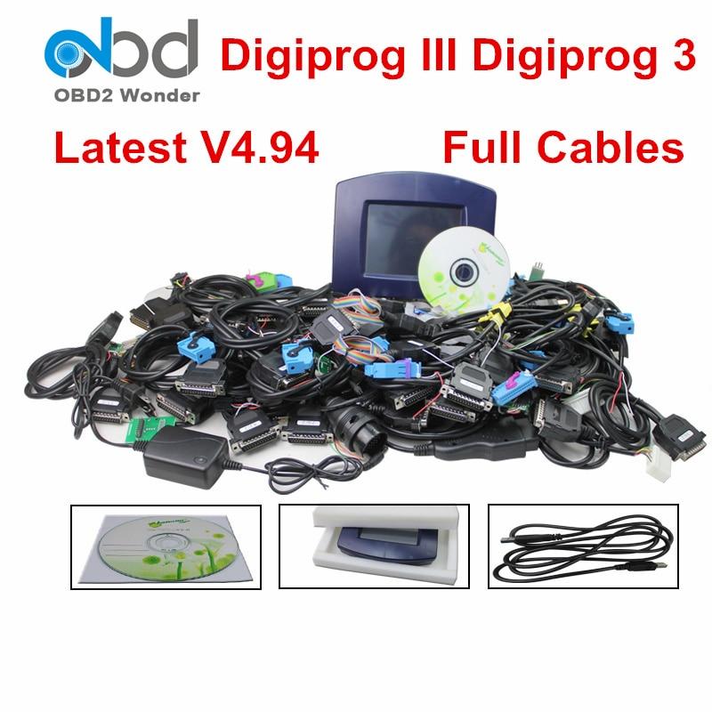 Full Set Digiprog3 Digiprog 3 V4.94 FTDI Odometer Programmer Tool Digiprog III DigiprogIII OBD2 Mileage Correction Full Cables