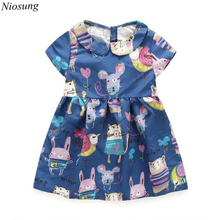 Niosung 2016 High Quality Baby Girls Cartoon Printing Short Sleeve Doll Collar Pincess Dress Kids Child Princess Clothing v